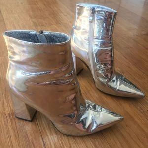 Public Desire Shoes - Silver metallic ankle boots